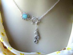 Seahorse Lariat Necklace Seahorse Necklace Druzy by AimeezArtz, $20.00