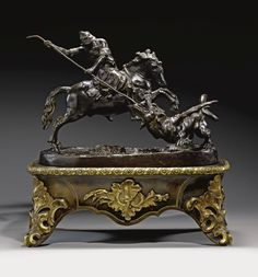St. George Vanquishing the Dragon, Francesco Fanelli, Anglo-Italian ca 1630-1640, bronze on a later gilt-metal mounted & tortoiseshell veneered stand, 7¼ by 10¼in., 85K gbp