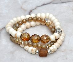 Natural Shades Beaded Bracelets / Stacked Bead by BeadRustic