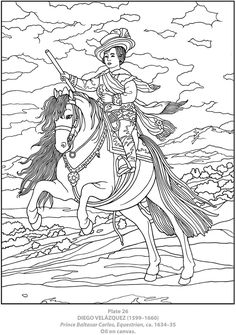 Italian Artist Coloring Pages Dover Publications Dover Coloring Pages, Horse Coloring Pages, Adult Coloring Pages, Coloring Books, Free Coloring, Thinking Day, Impressionist Paintings, Coloring Pages For Kids, Art History