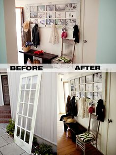 Old French Door Repurposed as Cool New Coat Rack - http://diyforlife.com/old-french-door-repurposed-cool-new-coat-rack/ - #CoatRack, #DiyCoatRack