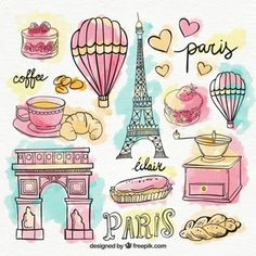 Set of paris elements in watercolors Free Vector Illustration Paris, Watercolor Illustration, Paris Party, Paris Theme, Paris Clipart, Mini Album Scrapbook, Doodles, Travel Drawing, Thinking Day