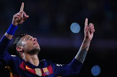 Neymar Jr of FCBarcelona celebrating his goal during FCBarcelona vs Sporting Spanish League match April 23 2016 in Barcelona Spain