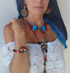 Painted Set Necklace Bracelet Earrings inspired by Ancient Greek Minoan Art. Boho Blue Red Brown Jewelry Set Gift with Semi-Precious stone. Minoan Art, Wooden Earrings, Paint Set, Short Necklace, Necklace Sizes, Mediterranean Style, Ceramic Beads, Ancient Greek, Casual Outfits