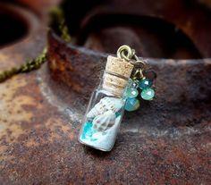 Sea Treasures shell sand tiny bottle sea glass by freerangeart, Bottle Jewelry, Bottle Charms, Bottle Necklace, Sea Glass Jewelry, Beaded Jewelry, Wire Jewelry, Sea Glass Crafts, Seashell Crafts, Beach Crafts