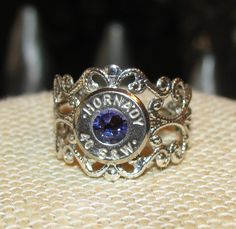 Hornady 40 caliber adjustable filigree ring with purple velvet swarovski rhinestone