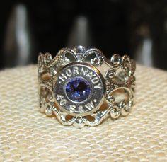 Hornady 40 caliber adjustable filigree ring with purple velvet swarovski rhinestone