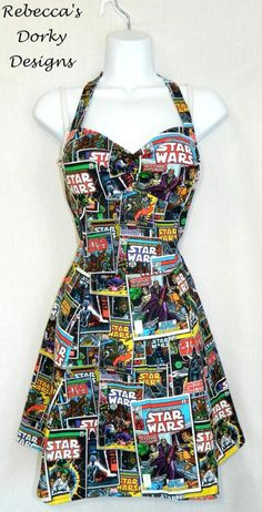 Star Wars comic book dress by Rebecca's Dorky Designs Pin Up Dresses, Disney Dresses, Pretty Dresses, Amazing Dresses, Star Wars Comic Books, Star Wars Comics, Star Wars Dress, Vintage Dresses, Vintage Outfits
