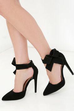 Precision is Key Black Bow Heels at Lulus.com!