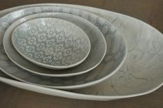 Wonki Ware Oval Bowl - Three Sizes Lace Patterns, South Africa, Pottery, Plates, Ceramics, Classic, Color, Ceramica, Licence Plates