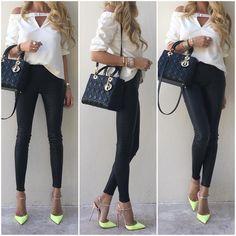 #Tibi top, #Veda leather pants, #LouboutinRivierina120mm and medium #LadyDiorBag.