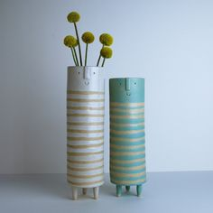 Image of Tall thin vase pair//turquoise and white stripes
