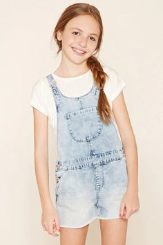 Forever 21 Girls - A pair of denim overall shorts featuring non-adjustable straps #f21kids