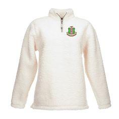 Alpha Kappa Alpha Embroidered Quarter-zip Sherpa Sweater - Letters Greek  Apparel - Black Greek ecc4e4f92414