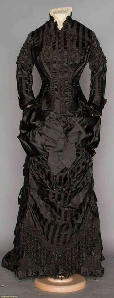 Another exciting sale from Augusta's NYC auction was this 1870s Black Mourning dress for $3,300.