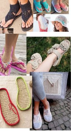 Crochet Patterns for Summer Shoes and Flip Flops. Learn How to crochet a pair of shoes for the summer using flips flops or canvas bottoms with these favorite crochet patterns.