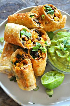 Vegan tex mex egg rolls are one of the fastest and definitely one of the most delicious appetizers of all time. Perfect for parties or just everyday! dinner Vegan Tex Mex Egg Rolls - Rabbit and Wolves Mexican Food Recipes, Whole Food Recipes, Cooking Recipes, Healthy Recipes, Healthy Food, Top Recipes, Mexican Vegan Food, Good Vegetarian Recipes, Vegan Soul Food Recipes