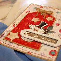 """Открытка """"С Новым Годом!"""" #скрап #скрапбукинг #открытка #новыйгод #снеговик #звезды #ручнаяработа #scrap #scrapbooking #newyear #card #scrapcard #handmade Загружено с помощью сайта instmsk.ru #webinstmskru"""