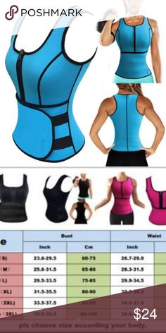 SMALL BLUE SAUNA VEST NEW BLUE BRAND NEW SMAL SCULPTING VEST Specifications: Zipper front design for easy on/off access. Adjustable waistband with velcro closure. Increase abdominal heat and promote weight loss. Full coverage for the upper body, back fat, and tummy... great for women who desire to sweat more during your workout.  Type: Shapewear Garment Care: Hand Wash Material: Neoprene Features: Waist Trainer, Workout Vest, Corset, Body Shaper, Slimming, Tummy Control, Helps postpartum…