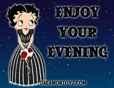 ENJOY YOUR EVENING For 1,000's of Betty Boop images, go to: http://bettybooppicturesarchive.blogspot.com/ ~And on Facebook~ https://www.facebook.com/bettybooppictures  Betty Boop wearing black gown with white stripes, holding red roses - The BB I used for this was created QB Katherine M Copeland