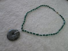 Adventurine Necklace with Donut Pendant by dreamdesigns on Etsy