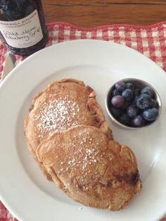 Healthy Whole Wheat Pancakes. Made these this morning minus the banana, smothered them in peanut butter. Delicious!