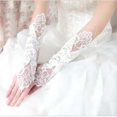Hot Sale 2014 New Fingerless White/Ivory Bridal Gloves with Lace Appliqued Fashion Wedding Dress Elegant Wedding Accessories Elegant Wedding Dress, Tulle Wedding, Lace Weddings, Wedding Dress Styles, Bridal Lace, Elegant Dresses, Ivory Wedding, Wedding Gloves, Lace