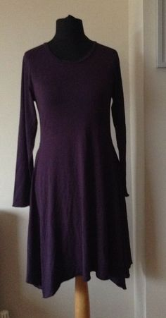 30faeb7086 Masai purple  black striped long sleeved A line dress size 10 12  fashion