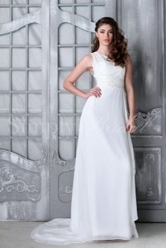 Wedding Dress by SimplyBridal. The Yvonne is a simple yet elegant one shoulder sheath gown. A lace applique detail accentuates the waist and adds a little sparkle. The lovely chiffon material is light and airy making this a perfect gown for beach and destination weddings. USD $233.99
