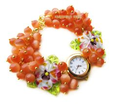"""Купить """"Яркая осень"""" часы с бусинами лэмпворк - часы, часы наручные, наручные часы"""