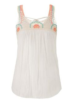 tank with crochet yoke and tie back (original price, $29) available at #Maurices