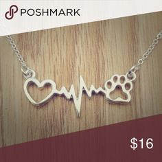 """🐶🐱✔Silver""""MyPetIsMyLifeLine""""NecklaceOnChain🐱🐶✔ Just IN Only ONE!!! available! Shop favorite and customer fave too… Silver chain features side attachment with open heart lifeline and pop print perfect for any dog:cat or just animal lover in general🐱🐶💚🙌😘…I know my 🐶🐶✔service dogs ChiAndRed and my other former pets are my lifeline! How about yours? Tell me below! Also available in goldtone metal. See other listing! Loooove and on reorder so if you'd like to pre-order at a lesser cost…"""