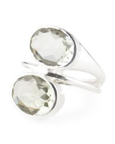 Made In India Sterling Silver Green Amethyst Bypass Ring