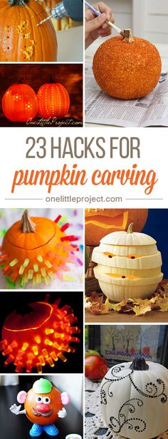 23 Clever Pumpkin Carving Hacks ~ These pumpkin carving hacks are AWESOME... From Lite Brite pumpkins to glitter pumpkins, there are so many fun ideas here to try!