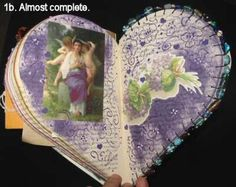 Heart Book #1 - 04 Purple altered book page with beaded edge.