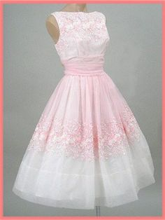60's Embroidered Pink Chiffon Party Dress - white and pink gradient stamped with opposite flowers