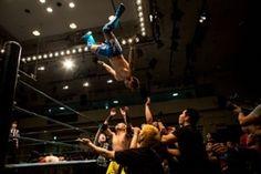 Student wrestlers fight in the ring during the Student Pro-Wrestling Summit. Members of college pro-wrestling clubs from all across Japan gathered to compete in their final graduation fight night held at Korakuen Hall in Tokyo. Japanese universities do not offer professional wrestling as a sport, forcing interested students from all across japan to form college pro-wrestling clubs. The students are self-taught and rely heavily on YouTube videos to learn moves and techniques.