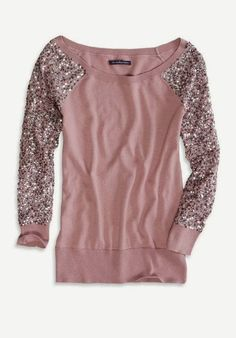 Sequin Sleeve Sweater By American Eagle