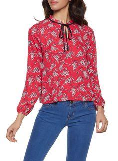 2f008d505ee Floral Tie Neck Blouse - Red - Size M Tie Neck Blouse