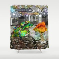 Doodlage 05 - Frog and Fungus   Shower Curtain