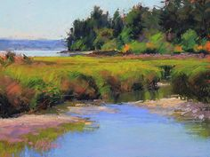 Tidal Marsh by Susan Ogilvie Pastel ~ 9 x 12 Pastel Landscape, Watercolor Landscape, Landscape Art, Landscape Paintings, Paintings I Love, Pastel Paintings, Water Reflections, Pastel Art, Painting Techniques