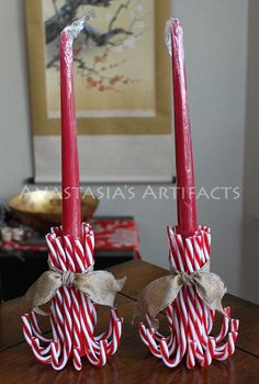 Pair Reusable Candy Cane Candle Holders, Choose Your Ribbon! – Taper Candles – Christmas Candlestick Holders – Creative Candles – DIY World Christmas Candles, Christmas Centerpieces, Christmas Wreaths, Christmas Decorations, Christmas Ornaments, Candy Cane Decorations, Advent Wreaths, Cottage Christmas, Nordic Christmas