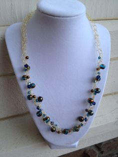 Gold Wire Crochet Blue and Bronze Beaded by LadybugCharJewelry, $25.00