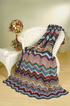 Florentine Bargello Afghan. Stunning colorful chevron pattern ripple crochet afghan free pattern. Free Pattern More Great Looks Like This
