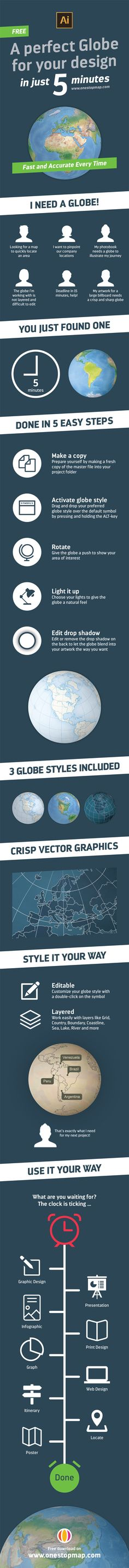 Infographic - A perfect globe for your design in just 5 minutes
