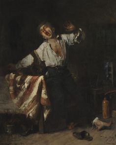 Yawning Apprentice Mihály Munkácsy Oil on Canvas 1869