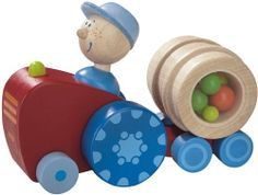 Haba Pushing Vehicle Tony Tractor by Haba Toys USA. $40.59. Perfect for little hands to push and roll. Detachable barrel. Made of solid beech wood and non-toxic solvent-free dye. Tony's robust tractor with trailer is exactly what small hands need. Rattling barrel makes sight and sound. From the Manufacturer                Includes Rattling Barrel. Made of Beech wood. Tony's robust tractor with trailer is exactly what small hands need. When pushed Tony jiggles up and ...