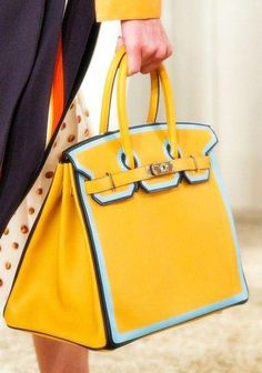 0d5460898a50 Hermes Yellow with Blue Piping Birkin Bag 5 - Resort 2018