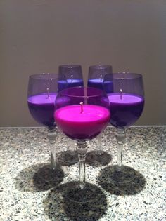 These lovely shaded purple glasses are recycled and have been made up in varying shades of wax - lavender (coconut lime), violet (ginger citrus) and magenta (mandarin & mimosa). They look and smell divine. Magenta, Purple, Vintage Candles, Soy Wax Candles, Wine Glass, Recycling, Lavender, Lime, Coconut