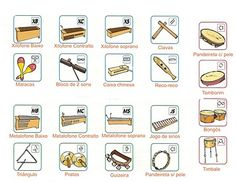 Classroom instrument names in Spanish, with pictures.